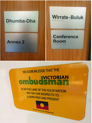 Names of meeting rooms and acknowledgement plaque at the new Victorian Ombudsman office