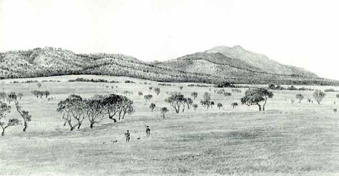 Depiction of Aboriginal people at Middle Crreek south east of Langi Ghiran in 1850
