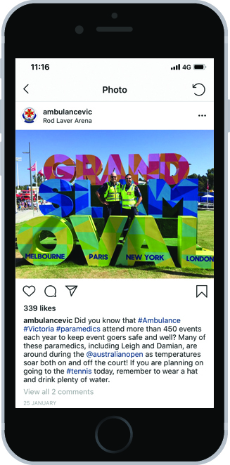 An image of a phone with an Instagram message from Ambulance Victoria which begins