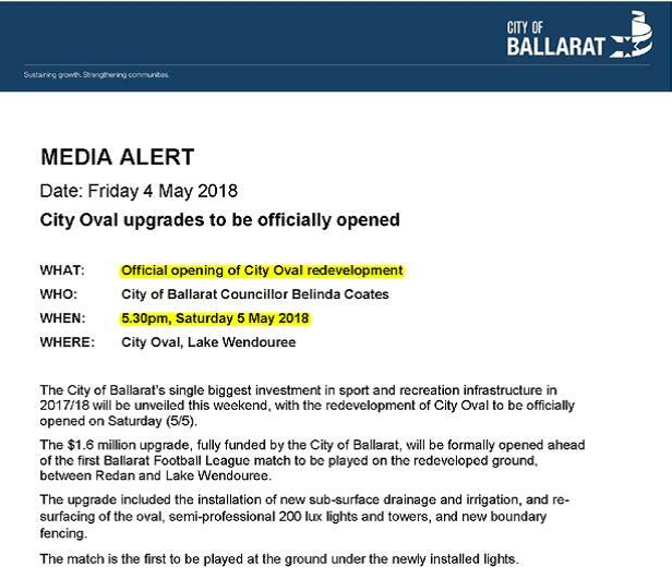 A document with the heading Media Alert which includes the City of Ballarat logo. It is dated Friday 4 May 2018. The Ombudsman has highlighted two sections. The first is what the media alert is about, which is 'Official opening of City Oval redevelopment'. The second highlighted section is the date of the opening which is '5.30pm, Saturday 5 May 2018'.