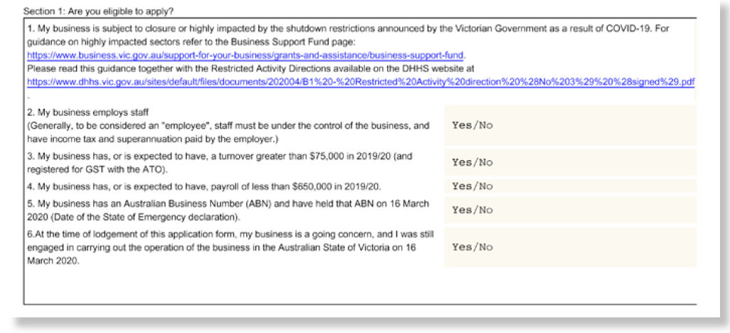 Figure 2: Extract of online form for the Business Support Fund