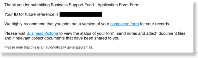 Figure 3: Email confirming submission