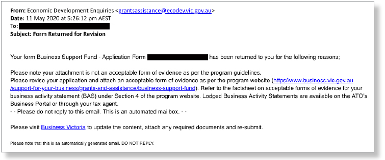 Figure 5: Email requesting an updated BAS