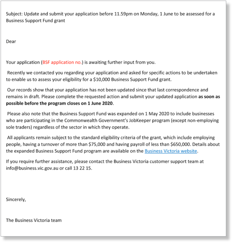 Figure 6: Template reminder email sent to business owners whose applications remained in 'draft'