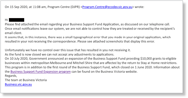 Figure 7: Email sent to a business owner