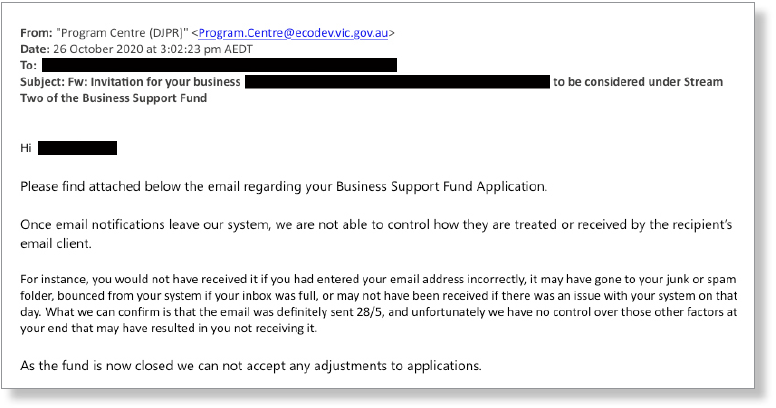Figure 8: Email sent to a business owner