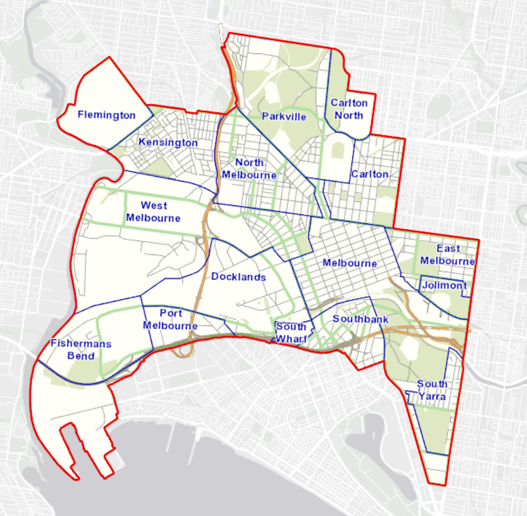 A map which shows the following suburbs as falling within the City of Melbourne boundaries: Kensington, a section of Flemington, West Melbourne, North Melbourne, Parkville, a section of Carlton North, Carlton, East Melbourne, Jolimont, a section of South Yarra, Southbank, South Wharf, Melbourne, Docklands, a section of Port Melbourne, and Fishermans Bend.