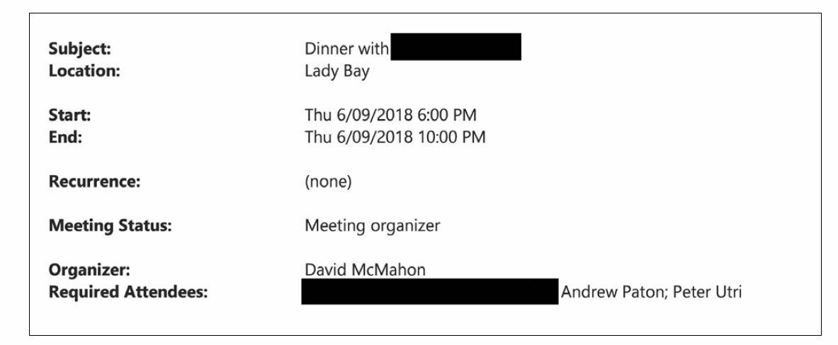 A diary entry for 6 September 2018 from 6pm-10pm. The organiser is David McMahon and the required attendees are: [Redacted], Andrew Paton and Peter Utri. The subject of the entry is: Dinner with [redacted]. The location is Lady Bay.