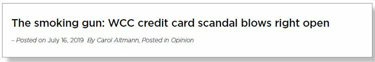 Headline reads: 'The smoking gun: WCC credit card scandal blows right open'.