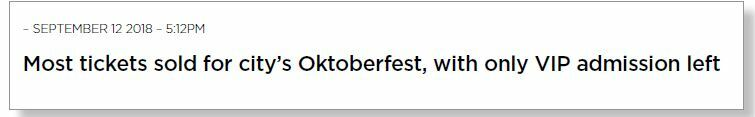 Headline reads 'Most tickets sold for City's Oktoberfest, with only VIP admission left'.