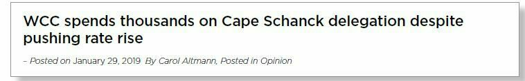 Headline reads: 'WCC spends thousands on Cape Schanck delegation despite pushing rate rise.'