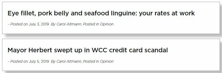 Two headlines from blog articles. The first headline reads 'Eye fillet, pork belly and seafood linguine: your rates at work'. The second headline reads: 'Mayor Herbert swept up in WCC credit card scandal.