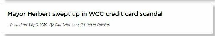 Headline reads: 'Mayor Herbert swept up in WCC credit card scandal.'