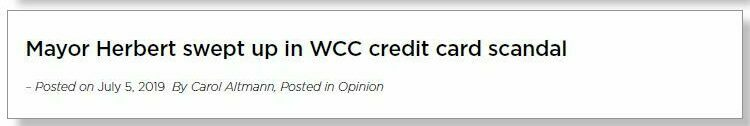 Headline reads: 'Mayor Herbert swept up in WCC credit card scandal.'