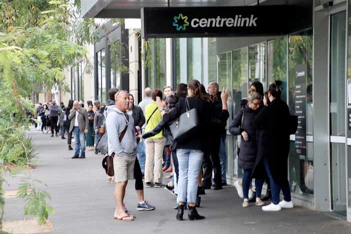 Figure 1: People outside Centrelink during COVID-19 lockdowns