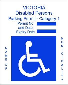 Victoria Disabled Persons Parking Permit with the International Symbol of Access and blue text on a white background