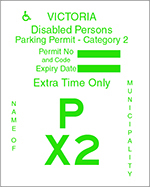Victoria Disabled Persons Parking Permit - Category 2 with green text on a white background