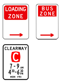 Loading zone, bus zone and clearway signs, with white backgrounds and red or black text