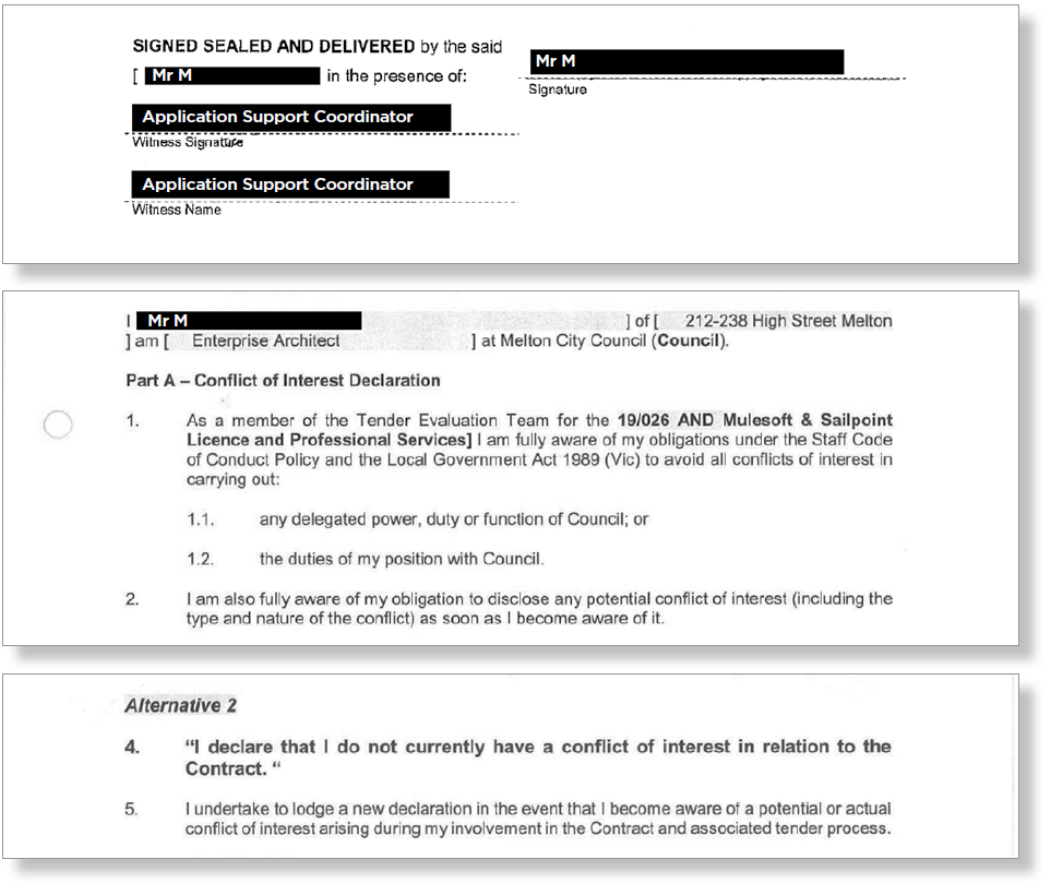 Figure 10: Extracts from conflict of interest and confidentiality form signed by Mr M
