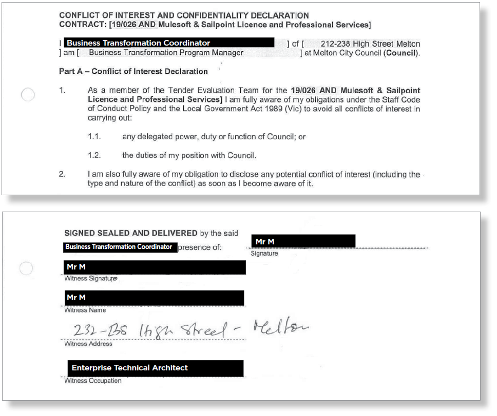 Figure 11: Conflict of interest declaration signed by Business Transformation Coordinator
