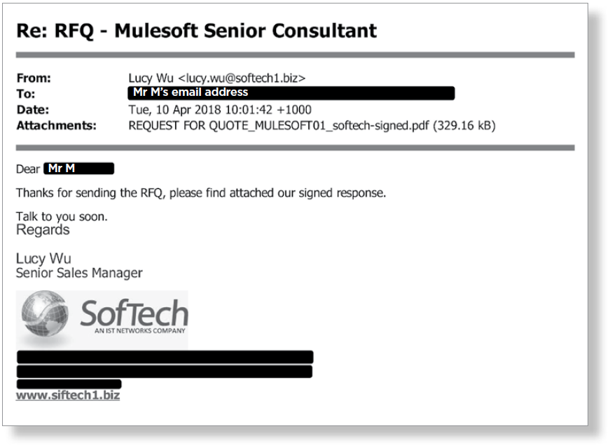 Figure 7: Response to April 2018 request for quote from Softech Australia