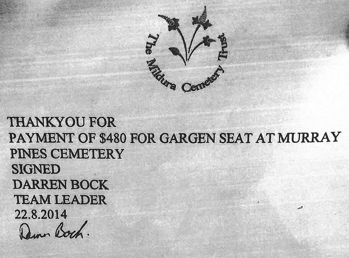 A hand-typed receipt with the Mildura Cemetery Logo up top. It reads: