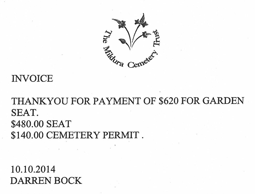An invoice with the Mildura Cemetery Trust logo up top. It reads: