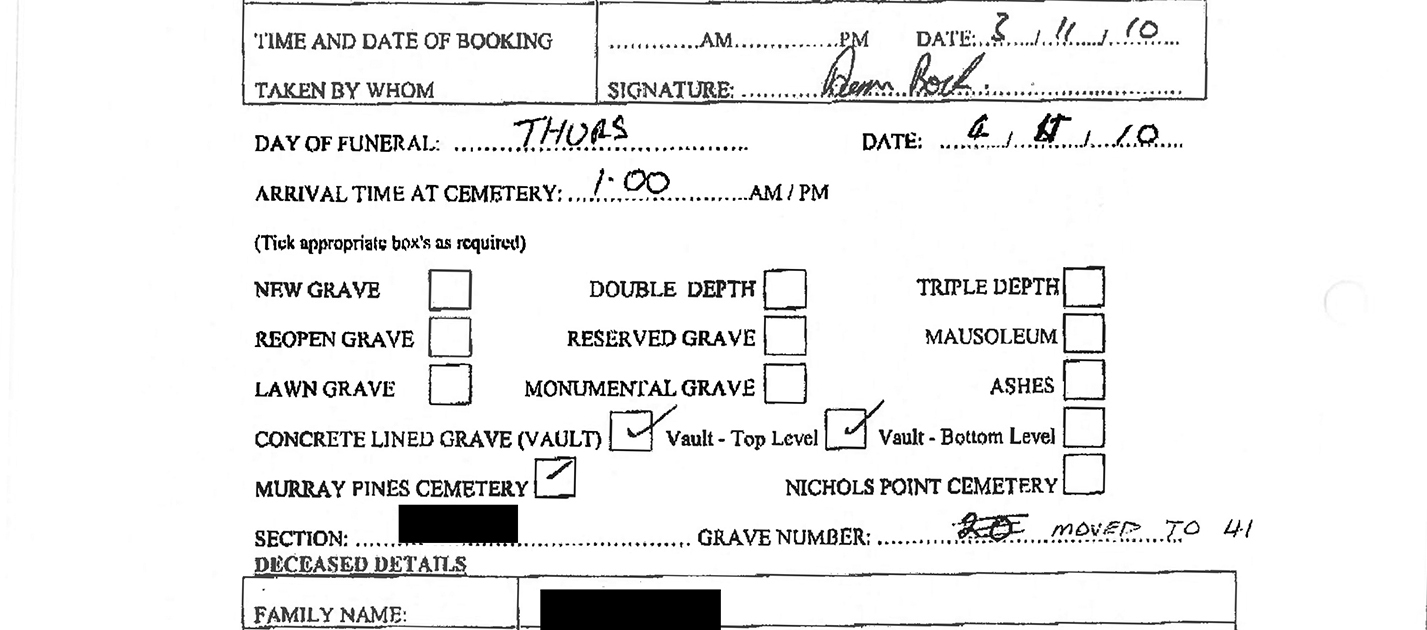 A form with handwritten answers showing the day, date and time of a funeral. In the grave number section, 20 has been written and then crossed out. Written next to this is: