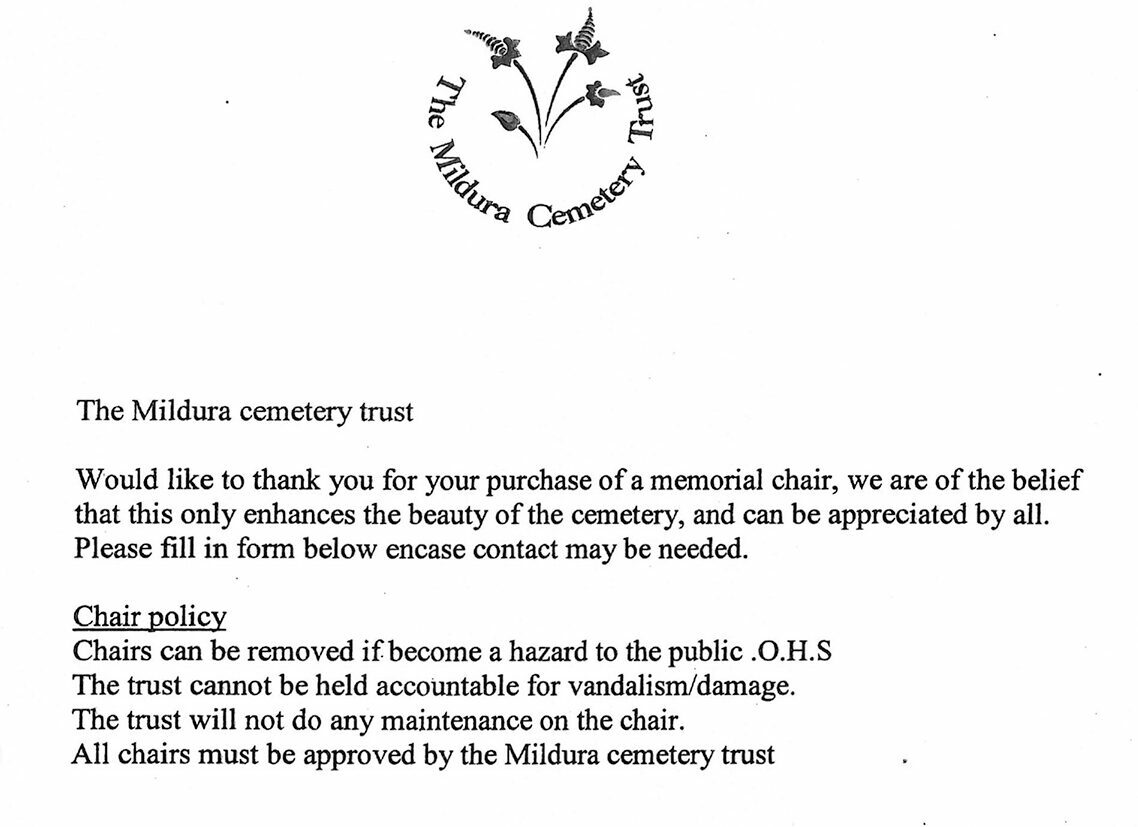 A document with the Mildura Cemetery Trust up top which reads: