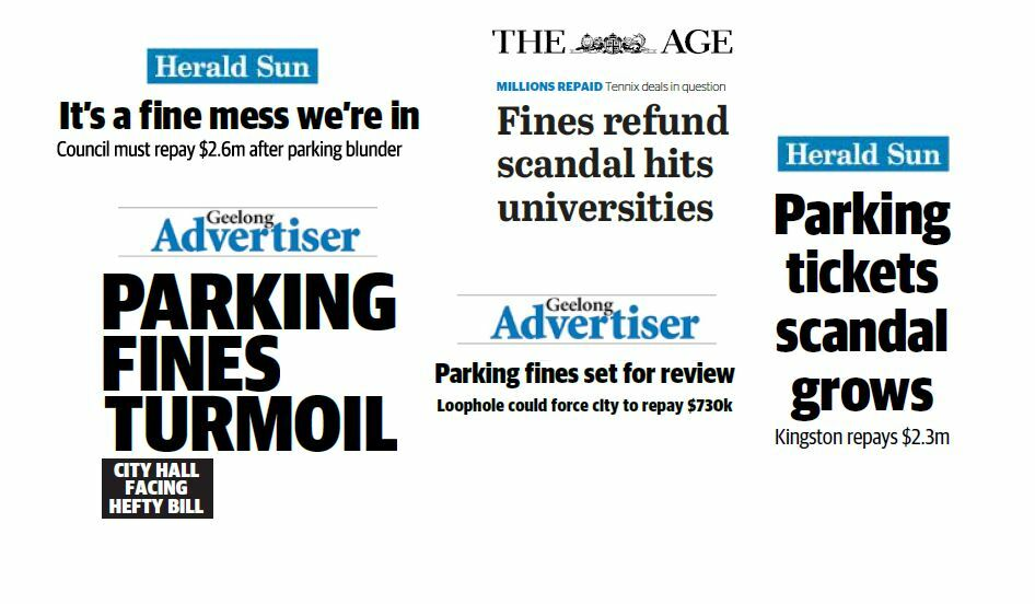 Five headlines from the Geelong Advertiser, Herald Sun and The Age. The headlines are 'It's a fine mess', 'Parking fines turmoil', 'Parking fines set for review','Fines refund scandal hits universities' and 'Parking tickets scandal grows'.