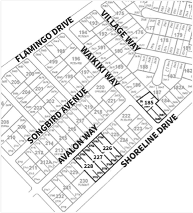 A map which shows four highlighted lots. One lot is on the corner of Shoreline Drive and Waikiki Way. The three other lots are further left along Shoreline Drive. They adjoin each other.