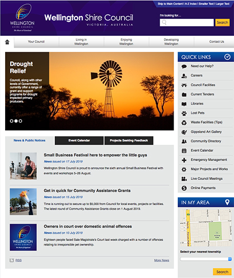 The hompage of the Wellington Shire Council website. The news and public notices section is in the centre. There are links to three different stories in the section.