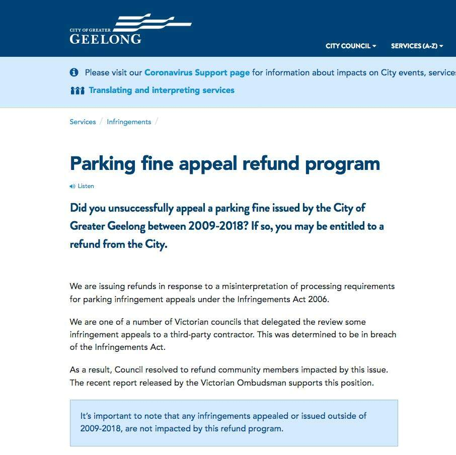 Figure 2: City of Greater Geelong details of refund scheme