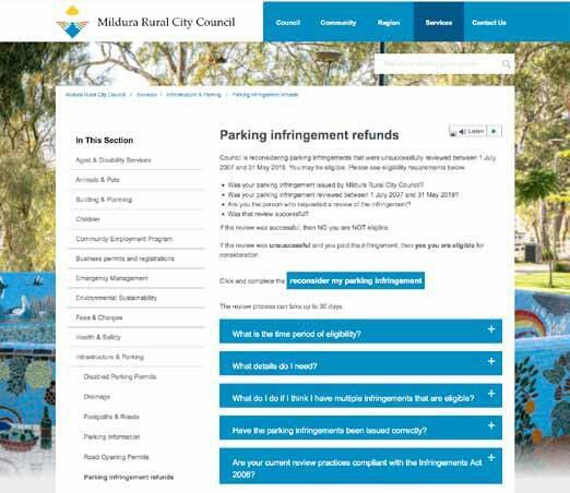 Figure 3: Mildura Rural City Council details of refund scheme