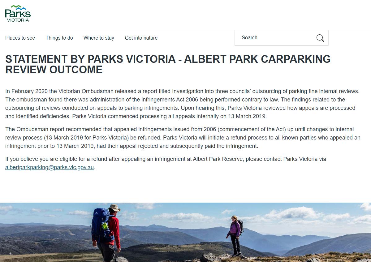Figure 5: Parks Victoria details of refund scheme