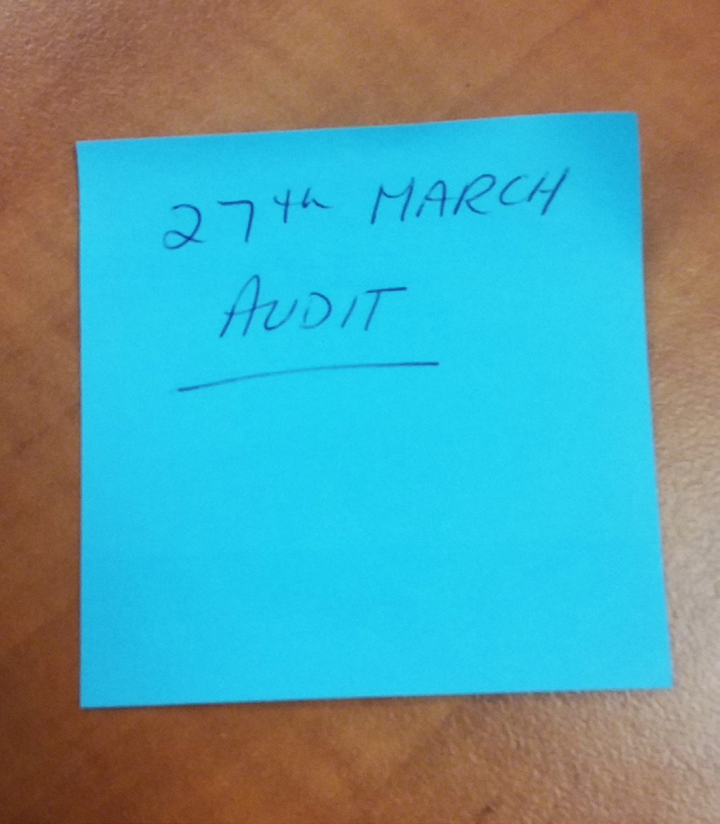 Figure 5: Photograph of post-it note found on Principal's desk taken during Ombudsman inspection of Principal's pffice, 24 October 2018