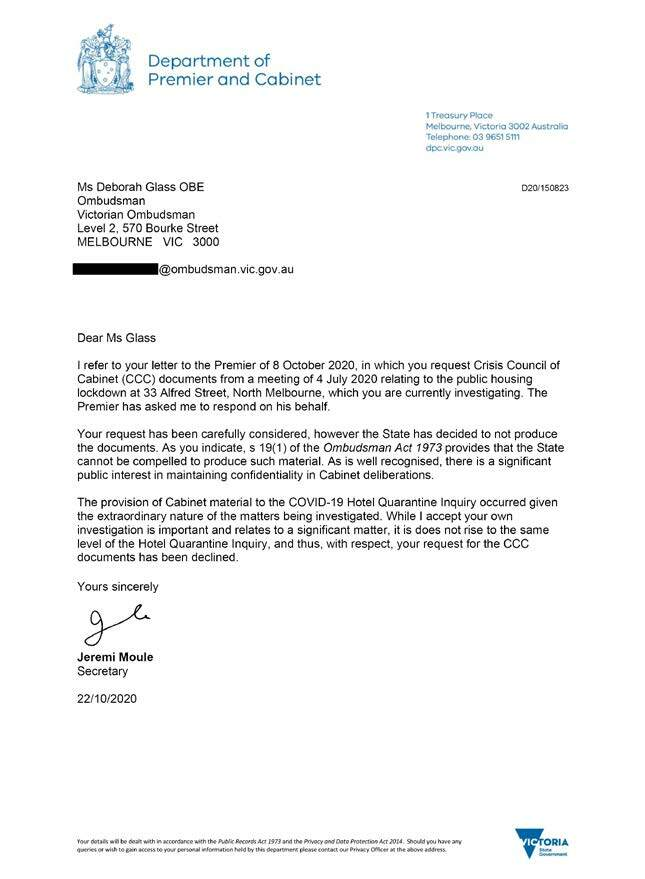 Response to the Ombudsman's request for documents relating to the deliberations of the Crisis Council of Cabinet