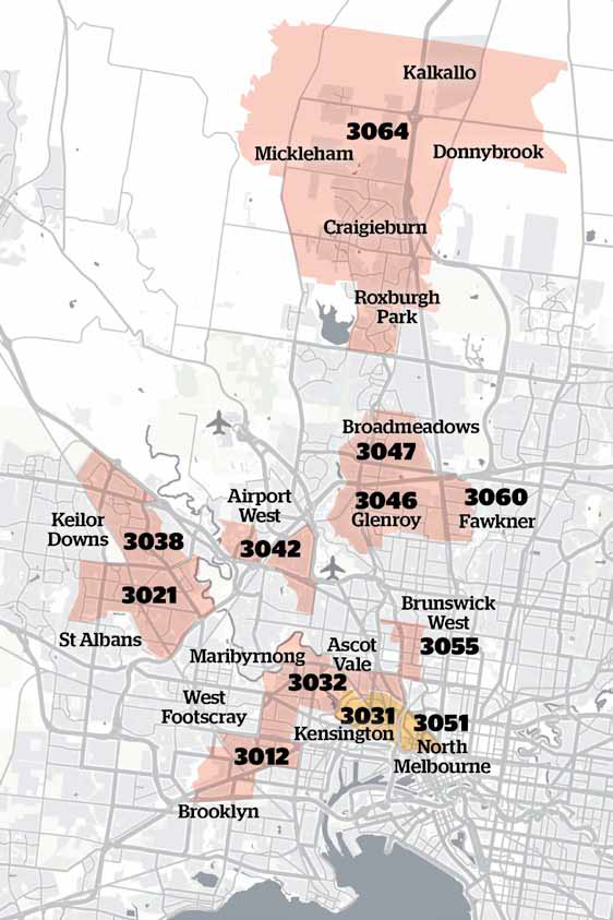 Figure 13: Melbourne postcodes subject to Stage 3 public health restrictions at 11:59pm on 4 July 2020
