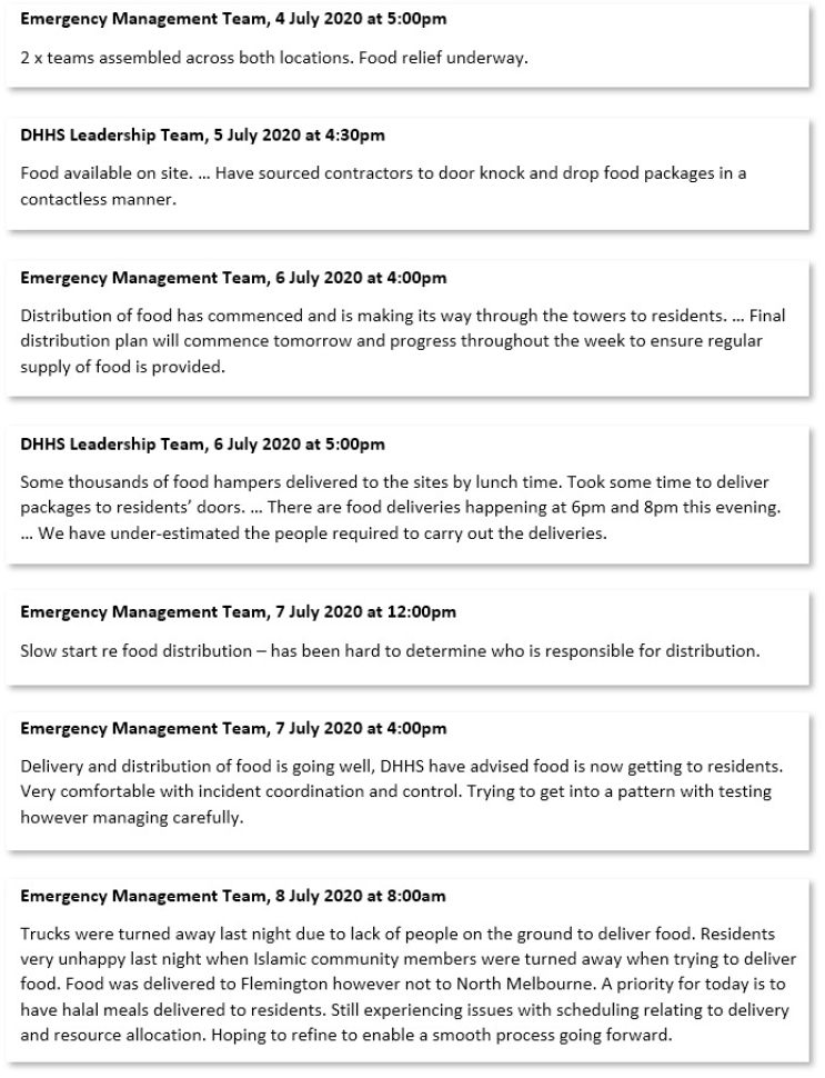 Figure 16: Extracts from minutes of Operation Benessere Emergency Management Team and DHHS Leadership Team concerning distribution of food relief, 4 July – 8 July 2020