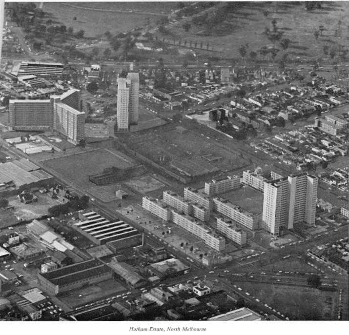 Figure 2: Photograph of former Hotham Estate including 33 Alfred Street (top left), 1968