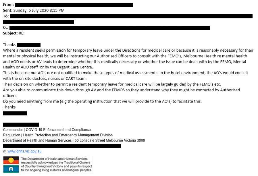 Figure 30: Extract of internal DHHS email, 5 July 2020
