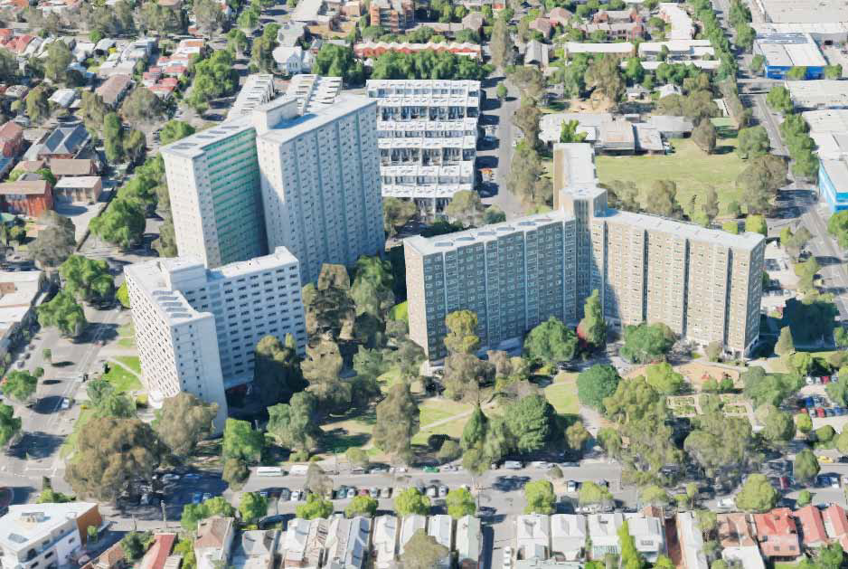 Figure 6: North Melbourne public housing precinct, including 33 Alfred Street (right)