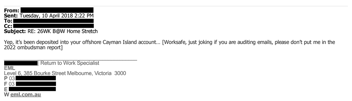 Email confirms jokingly that money has been deposited into an offshore account