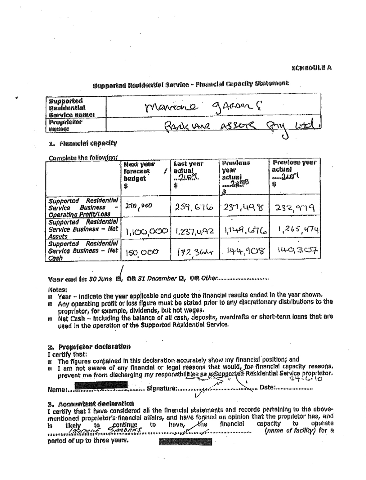 Example of a template form dated 24.6.2010.